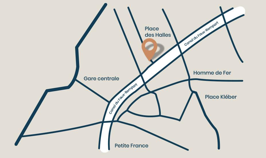 Localisation du restaurant entre la place des halles et la gare de Strasbourg